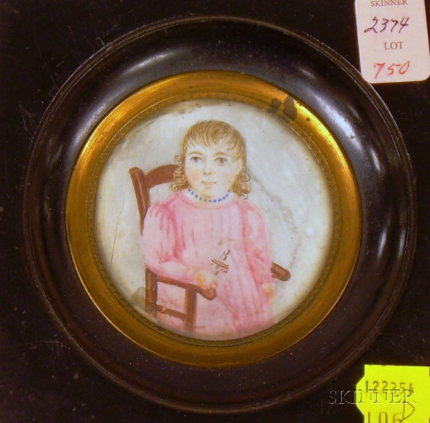 Framed Miniature Hand-painted Portrait on Ivory of Seated Child with a Rattle.