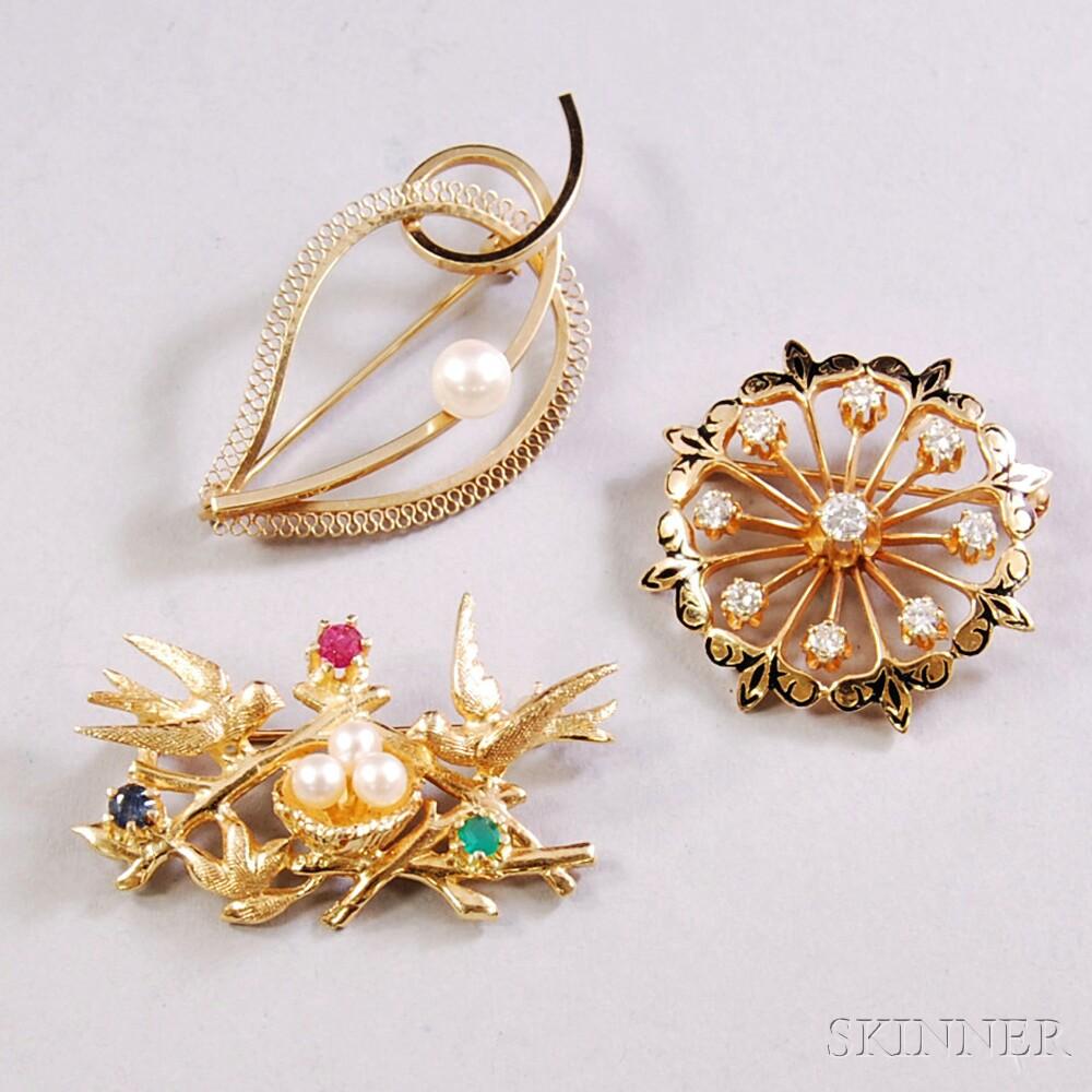 Three 14kt Gold Gem-set Pins