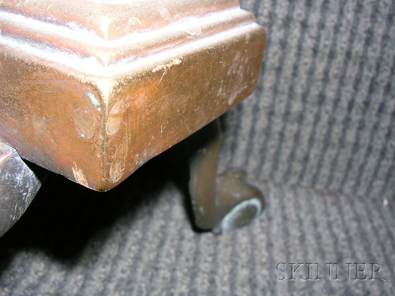 Pair of Federal Brass and Iron Urn-top Andirons