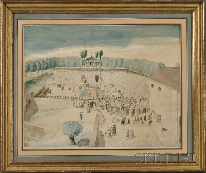 Jean Duplessis-Bertaux (French, c. 1747-c. 1820)      A Grand Outdoor Ceremony, Possibly the Coronation of Louis XVI