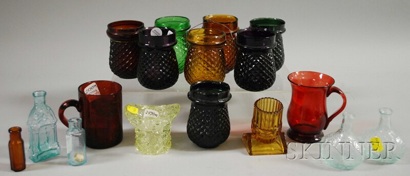 Seventeen Assorted Blown and Blown-molded Colored Glass Items