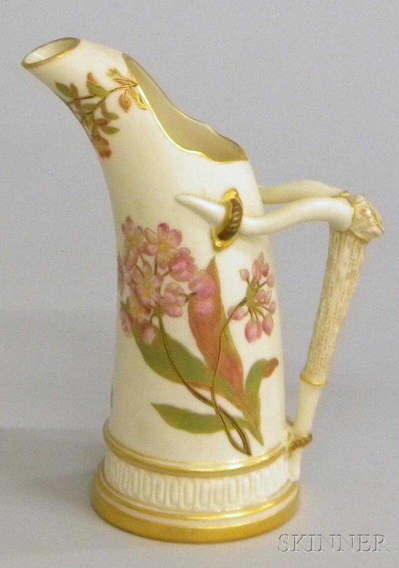 Royal Worcester Gilt and Hand-painted Porcelain Jug
