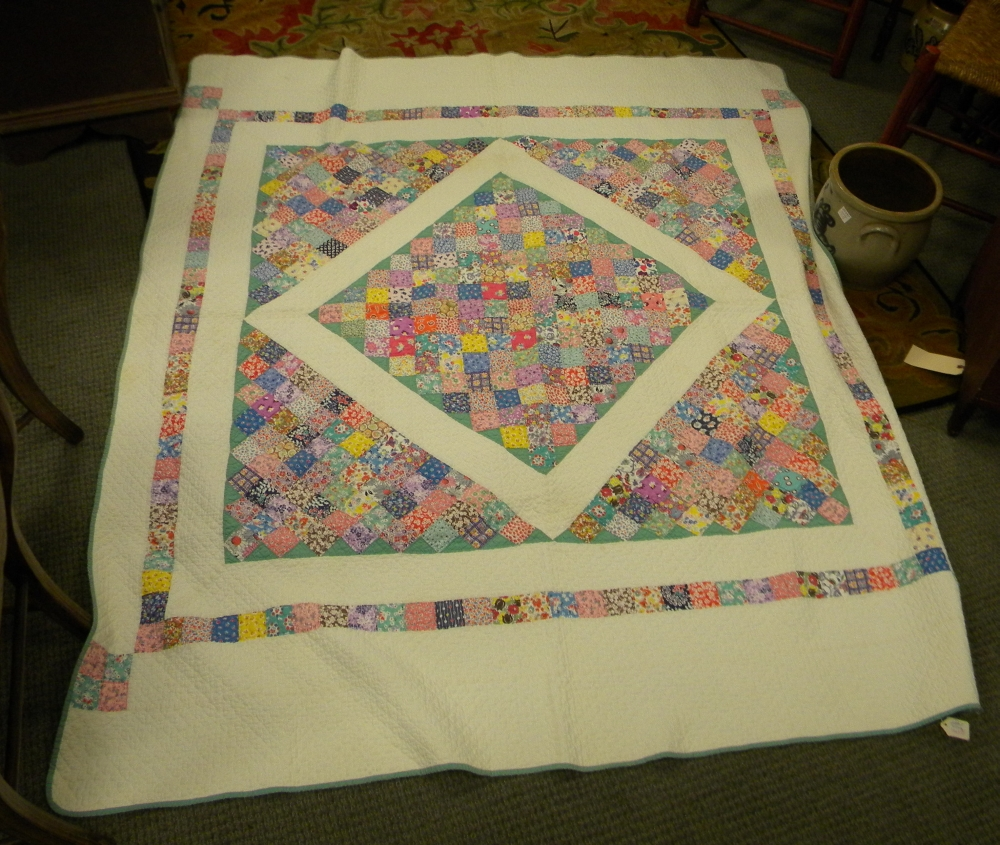 Red and White Wool Coverlet and a Patchwork Diamond in Square Pattern Quilt