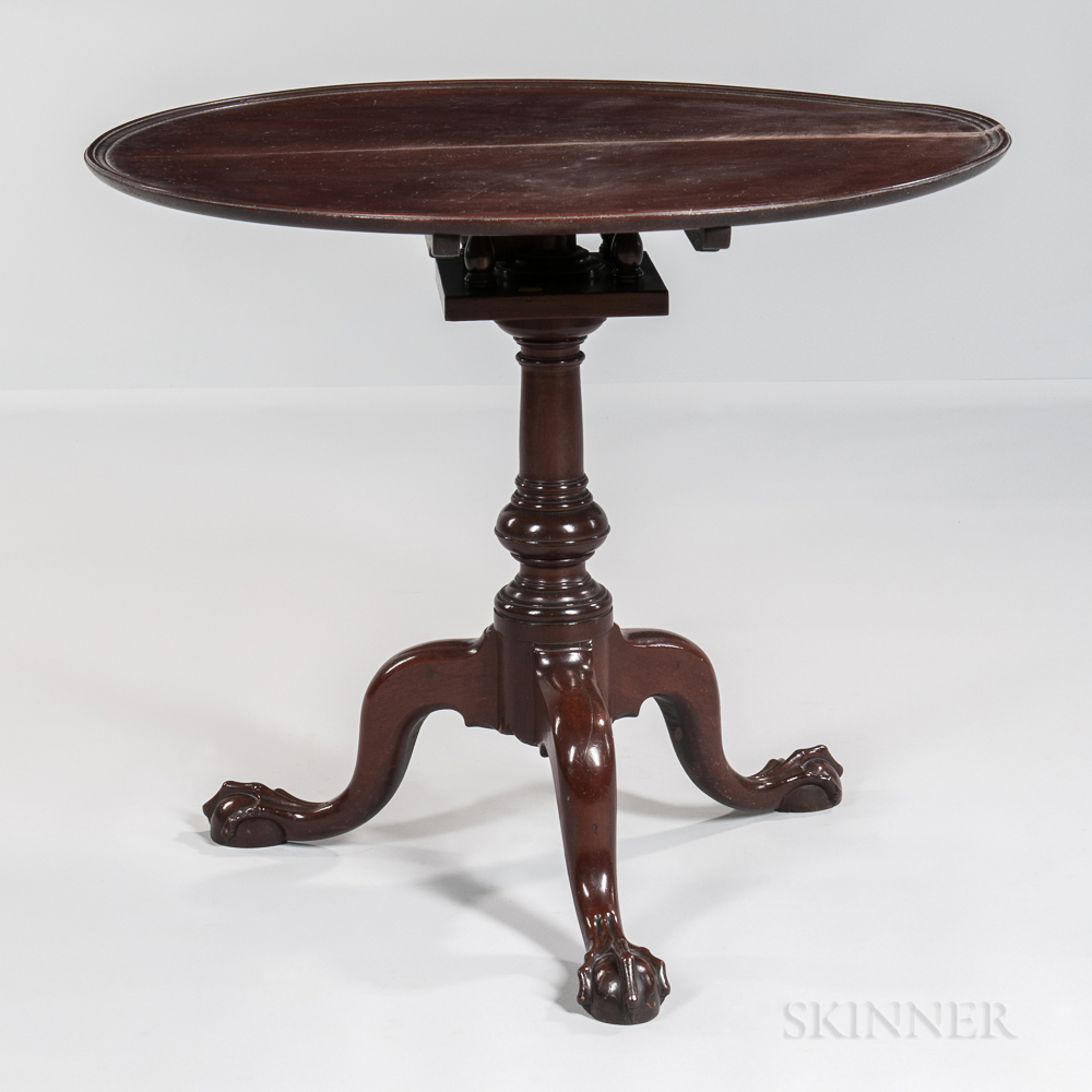 Carved Mahogany Tilt-top Tea Table