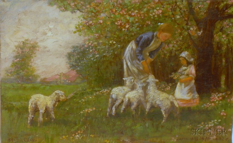 Attributed to Sir Ernest Albert Waterlow (British, 1850-1919)      Feeding the Spring Lambs/A Genre Scene with Mother and Child
