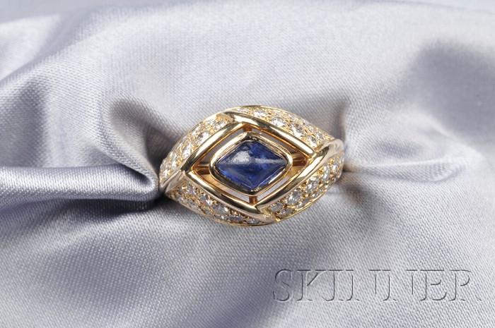 18kt Gold, Sapphire and Diamond Ring, Cartier, Paris