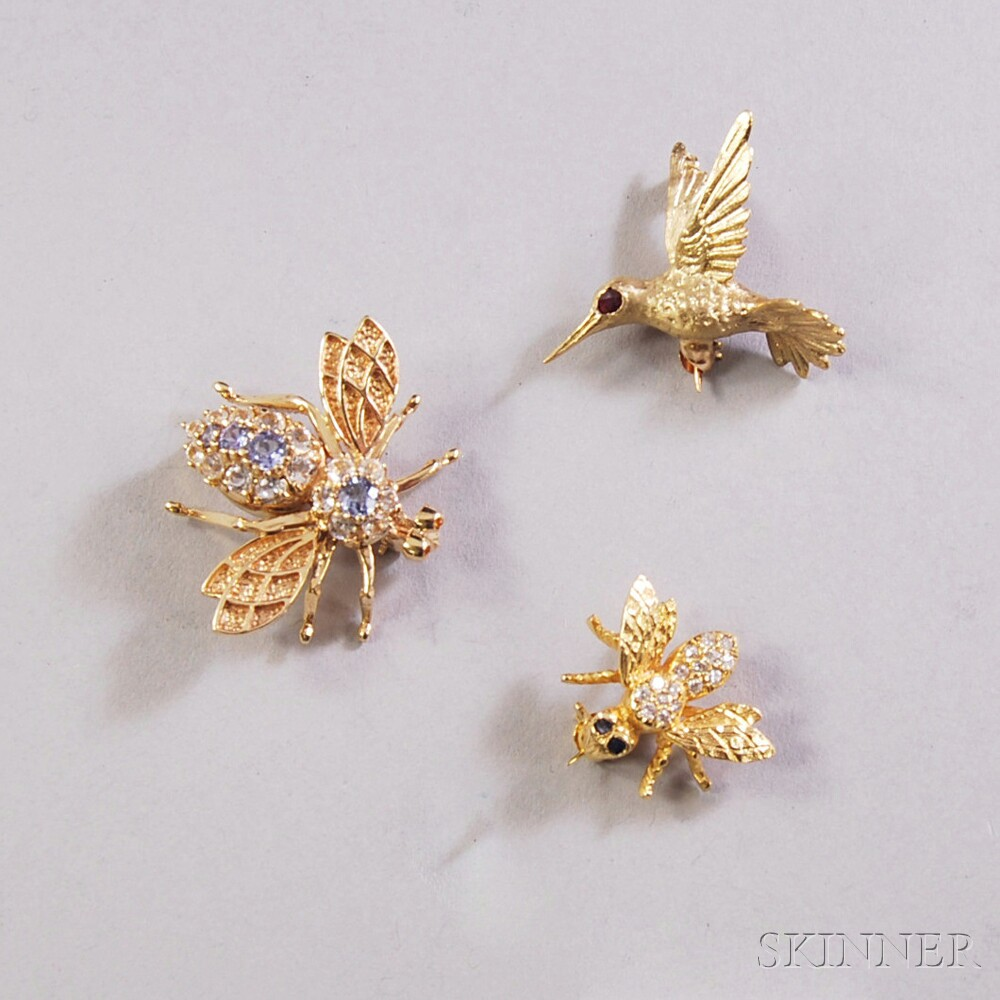 Three Small 14kt Gold Gem-set Pins