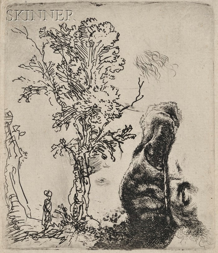Rembrandt van Rijn (Dutch, 1606-1669) Sheet with Two Studies: A Tree, and the Upper Part of a Head of the Artist Wearing a Velvet Ca...