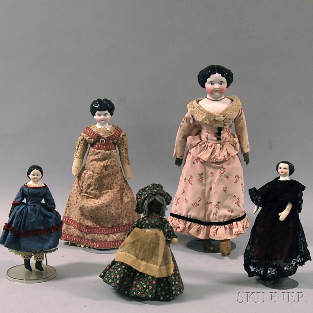 Four China Shoulder Head Dolls