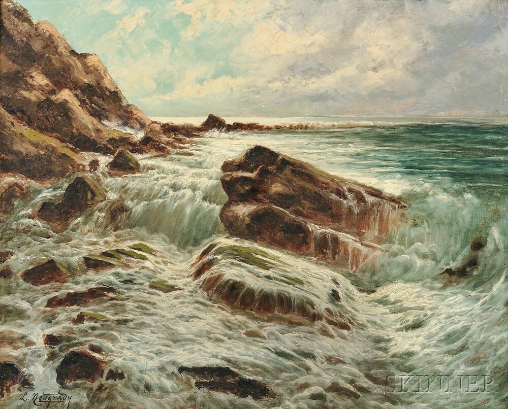 Laszlo Neogrady (Hungarian, 1896-1962)      Surf on a Rocky Coast