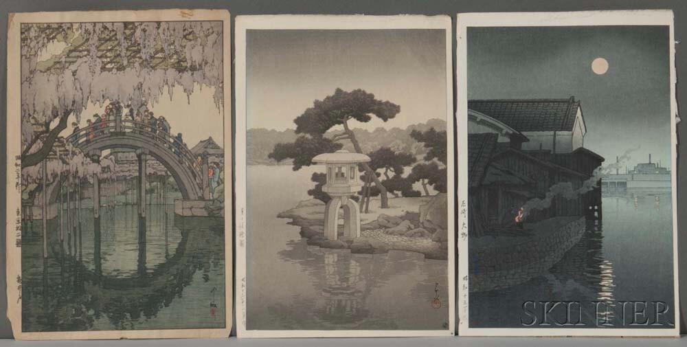 Hasui and Yoshida, Three Woodblock Prints
