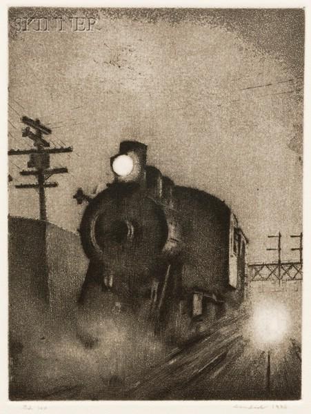 Armin Landeck (American, 1905-1984)      Lot of Two Images:  Locomotive