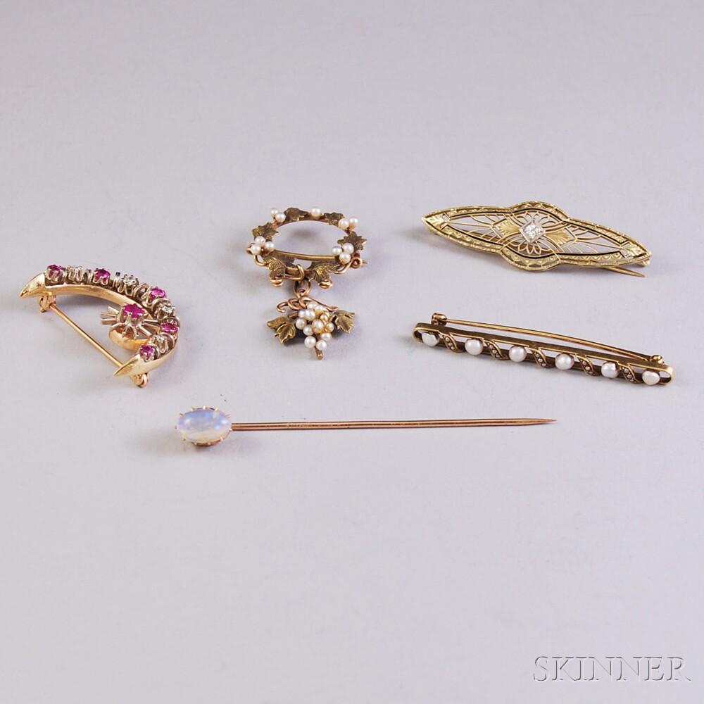 Five Gold Gem-set Pins