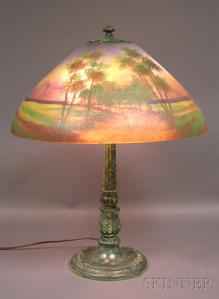 Reverse-painted Table Lamp