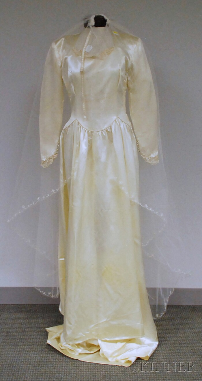 1940s dress ivory satin vintage wedding