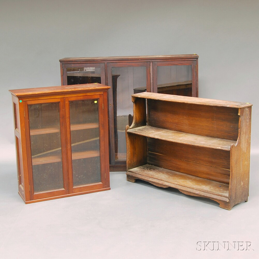 Two Mahogany Bookcases and an Oak Bucket Bench