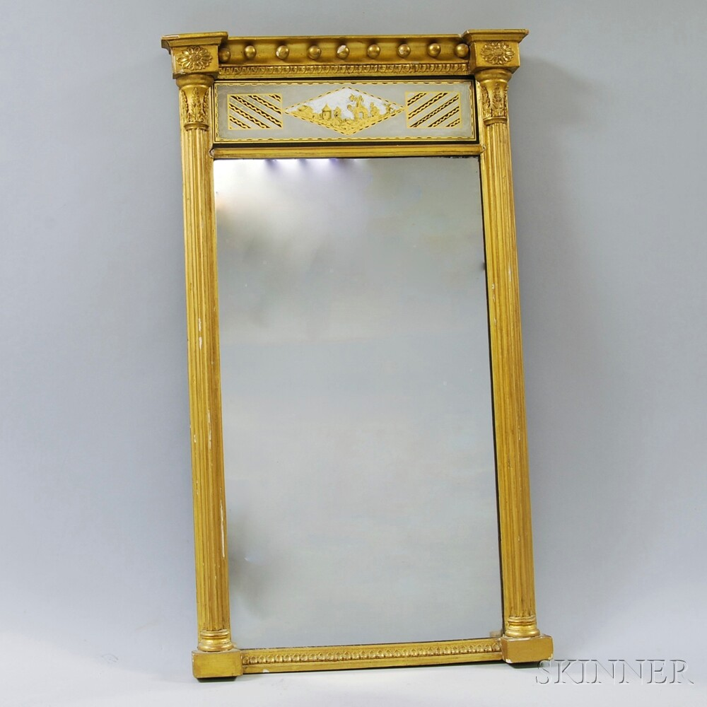 Federal Gilt-gesso Eglomise Mirror