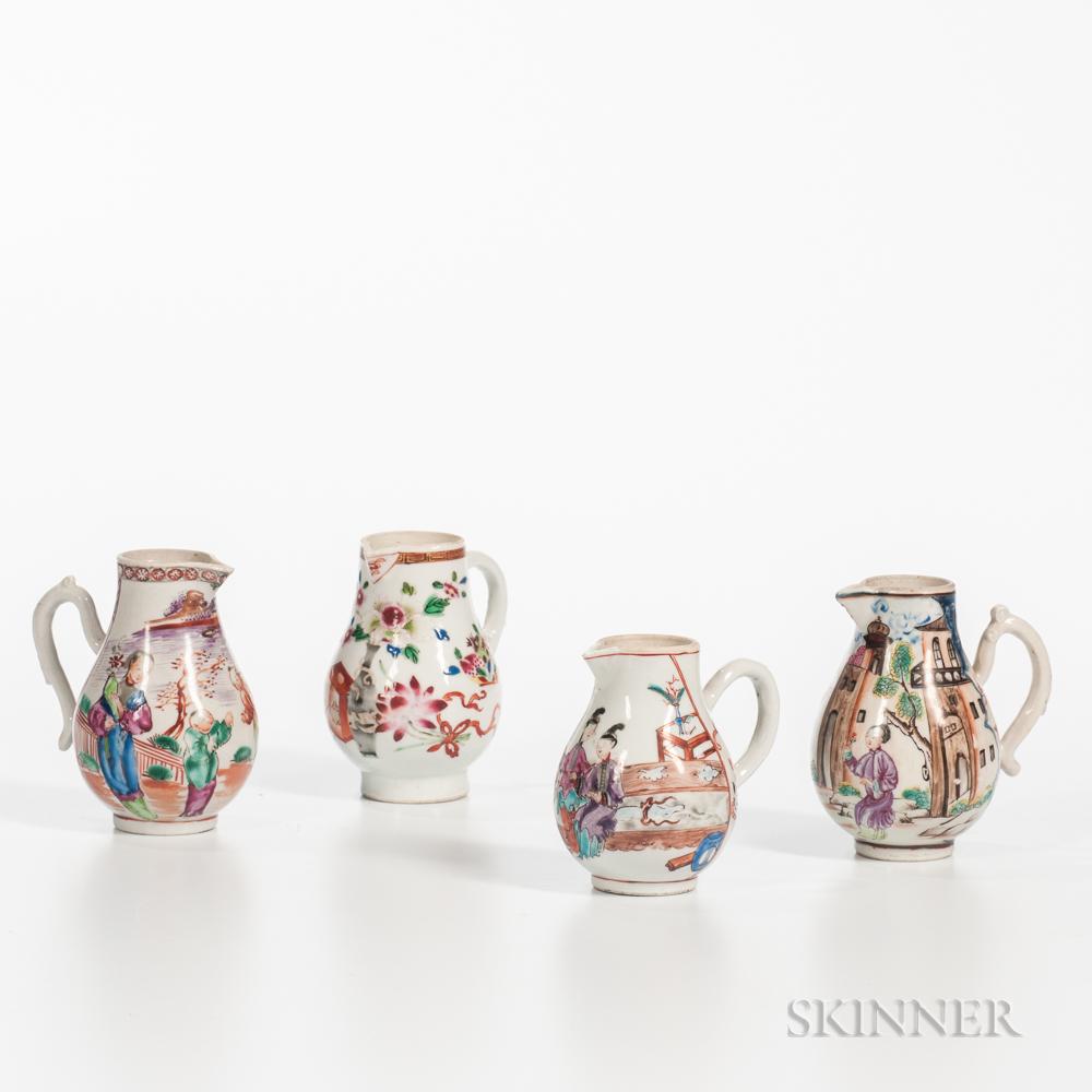 Four Polychrome-decorated Export Porcelain Cream Jugs