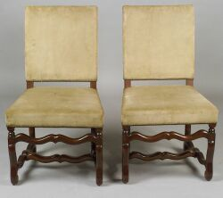 Pair of Continental Baroque-style Velvet Upholstered Beechwood Side Chairs