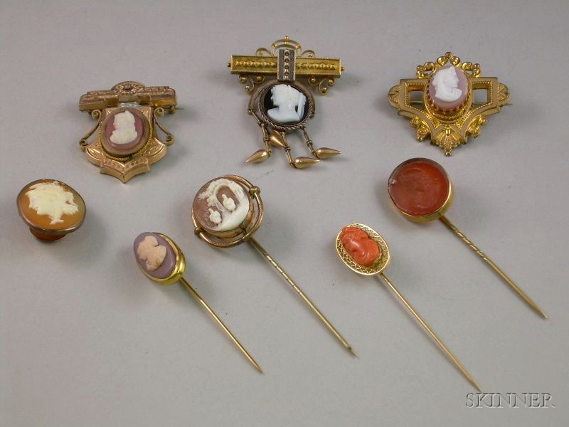 Three Victorian Cameo Brooches, Four Cameo/Intaglio Stickpins, and a Shell Carved Cameo Cuff Button.
