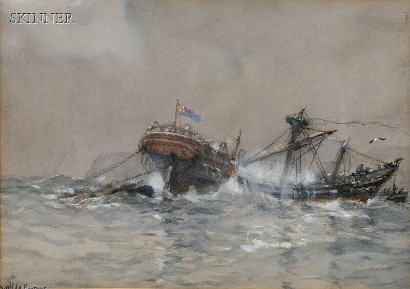 Arthur Wilde Parsons (British, 1854-1931)      Two Maritime Scenes: After the Storm