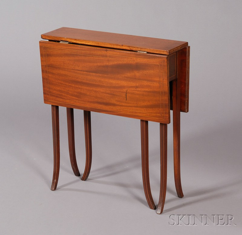 Inlaid Mahogany Tuck-away Table