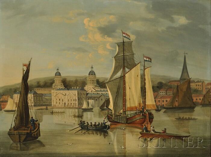 Manner of Lt. Thomas Yates, R.N. (British, c. 1760-1796)      River Traffic Off Greenwich Hospital
