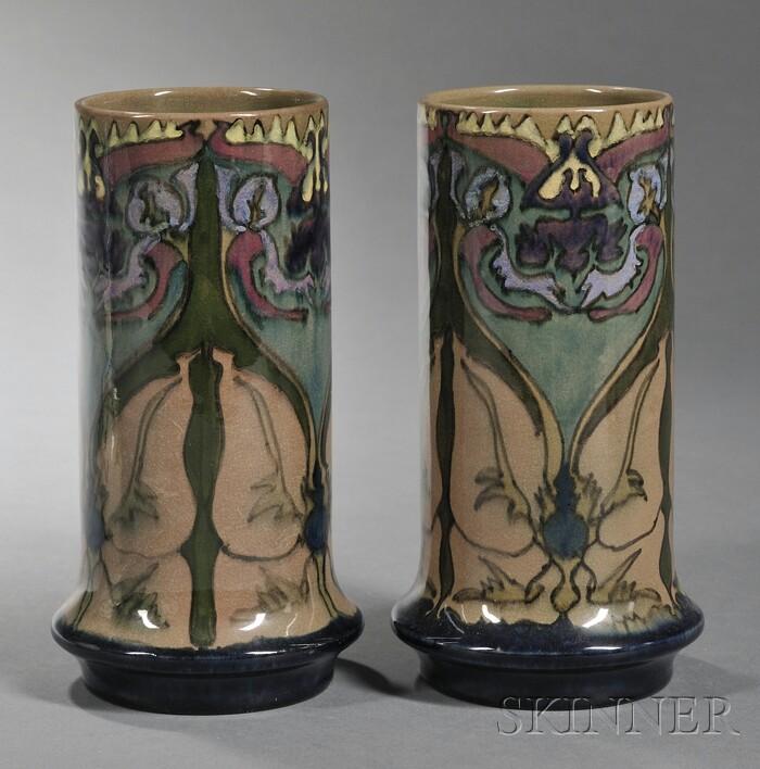 Pair of Gouda High Glaze Pottery Vases