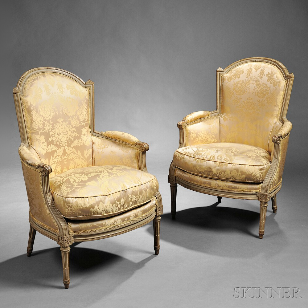 Pair of louis xvi painted and upholstered bergeres sale number 2754b lot number 290 skinner - Garde meuble fontainebleau ...
