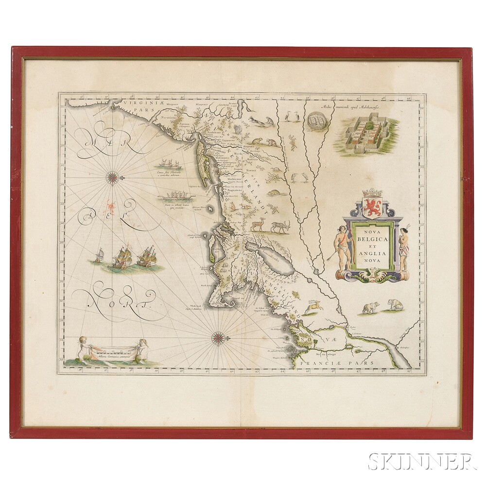 North America, East Coast, Maine to Virginia. Willem Janszoon Blaeu (1571-1638) Nova Belgica et Anglia Nova.