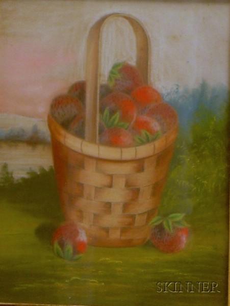 J.S. Bower (American, fl. circa 1850)      Basket of Strawberries Set in a Lakeside Landscape