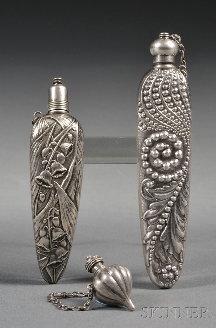 Three Small Sterling Scent Vials