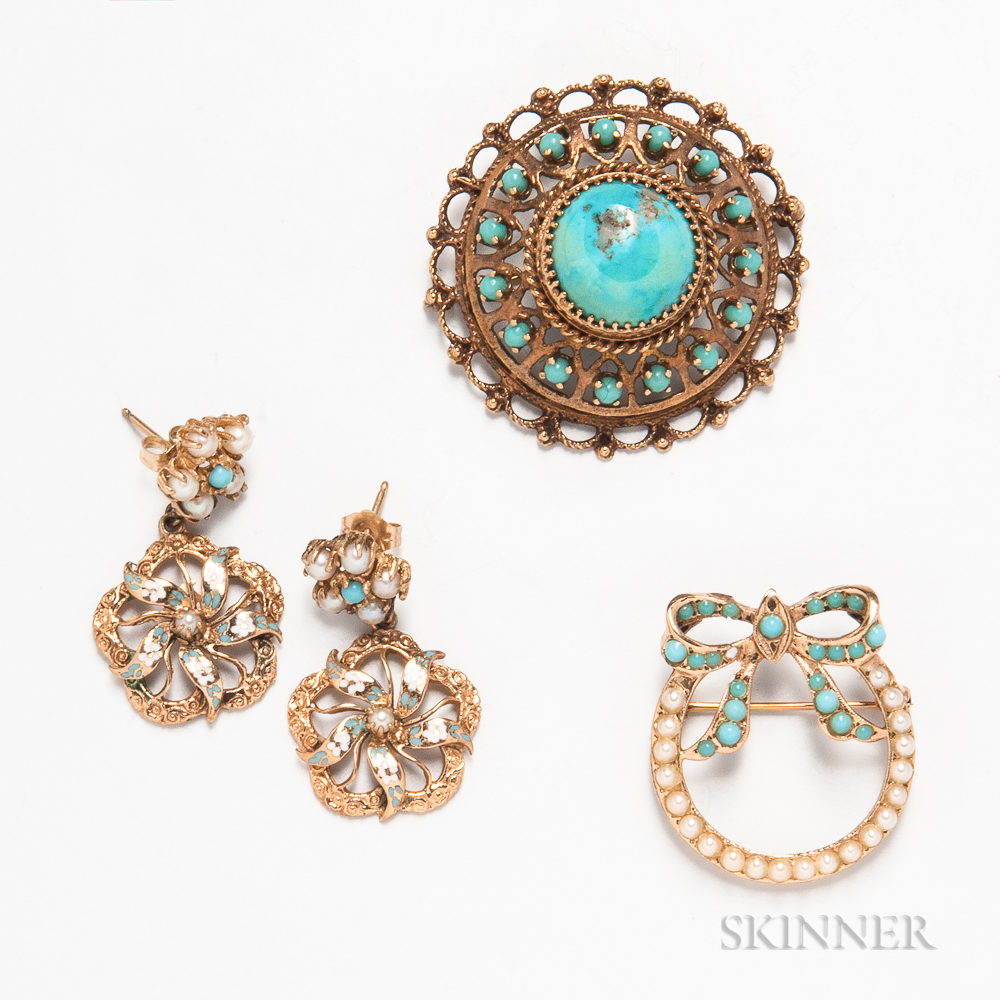 Group of 14kt Gold and Turquoise Jewelry