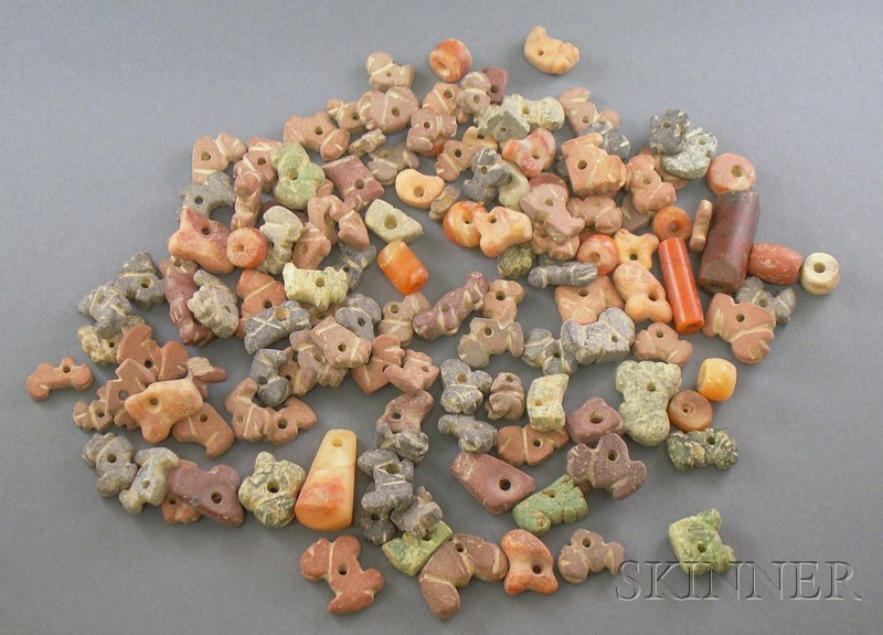 Large Group of Carved Pre-Columbian Beads