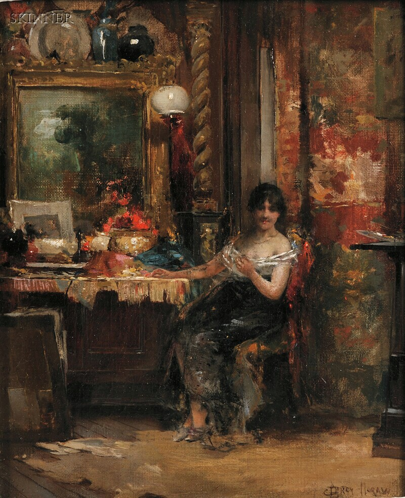 Percy (Edward Percy) Moran (American, 1862-1935)      The Interrupted Sitting