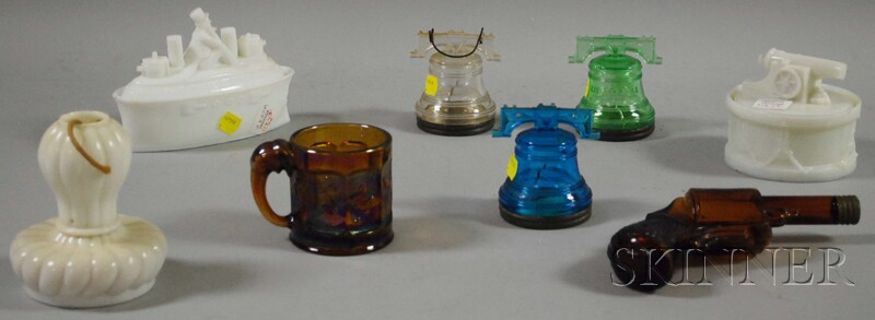 Eight Pressed Glass U.S. Patriotic and Figural Items