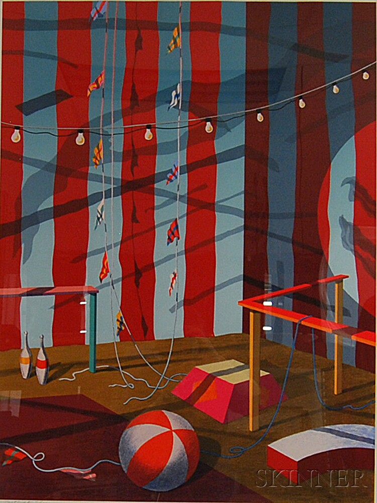 Alison Cann-Clift, Called Ali (American, b. 1949)      Three Circus Prints: Center Tent, Blue and White