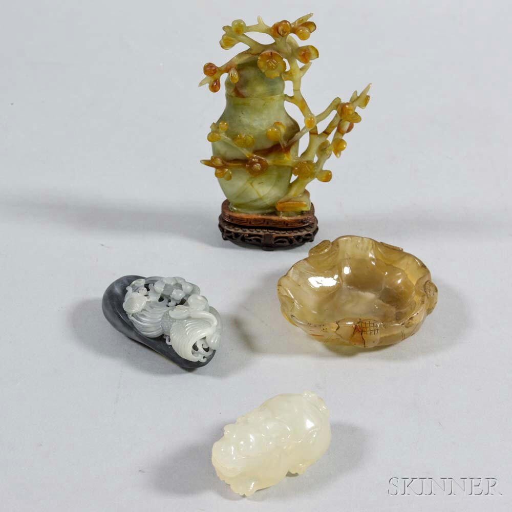 Four Carved Hardstone Items