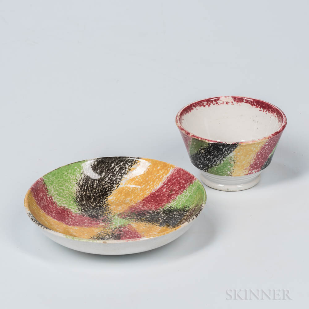 Rainbow Spatter Tea Bowl and Saucer
