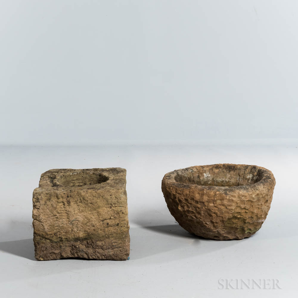 Two Carved Limestone Fragments