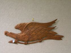 Carved Pine Eagle with Arrow Plaque.