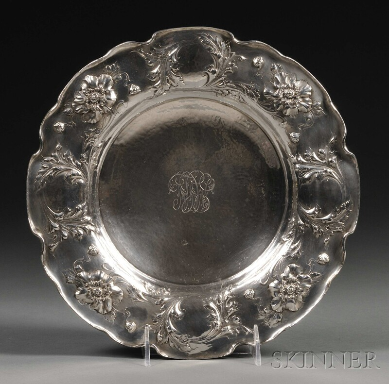 Tiffany & Co. Art Nouveau Sterling Footed Cake Plate