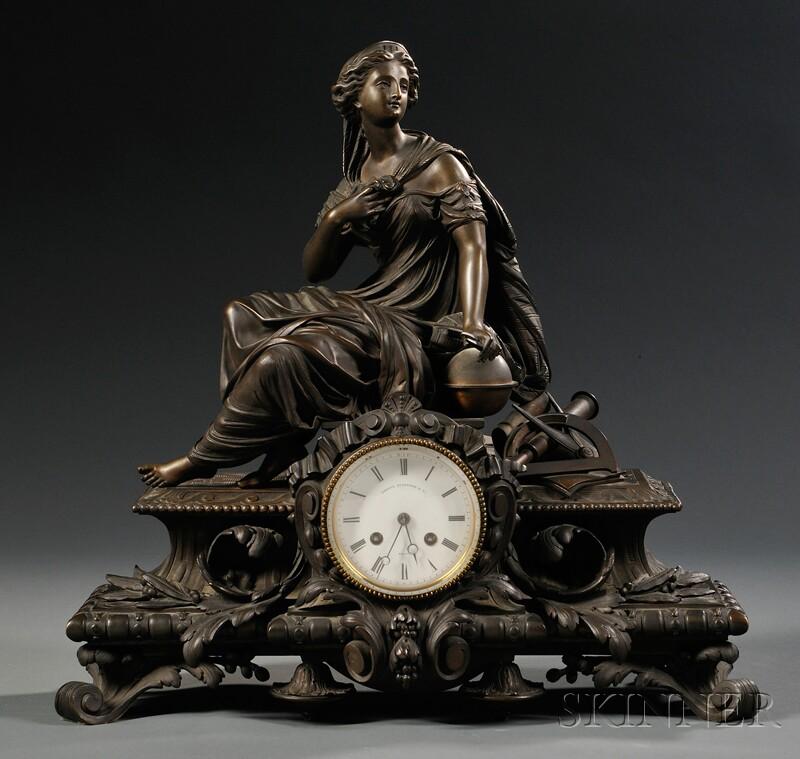 Figural Bronze Mantel Clock