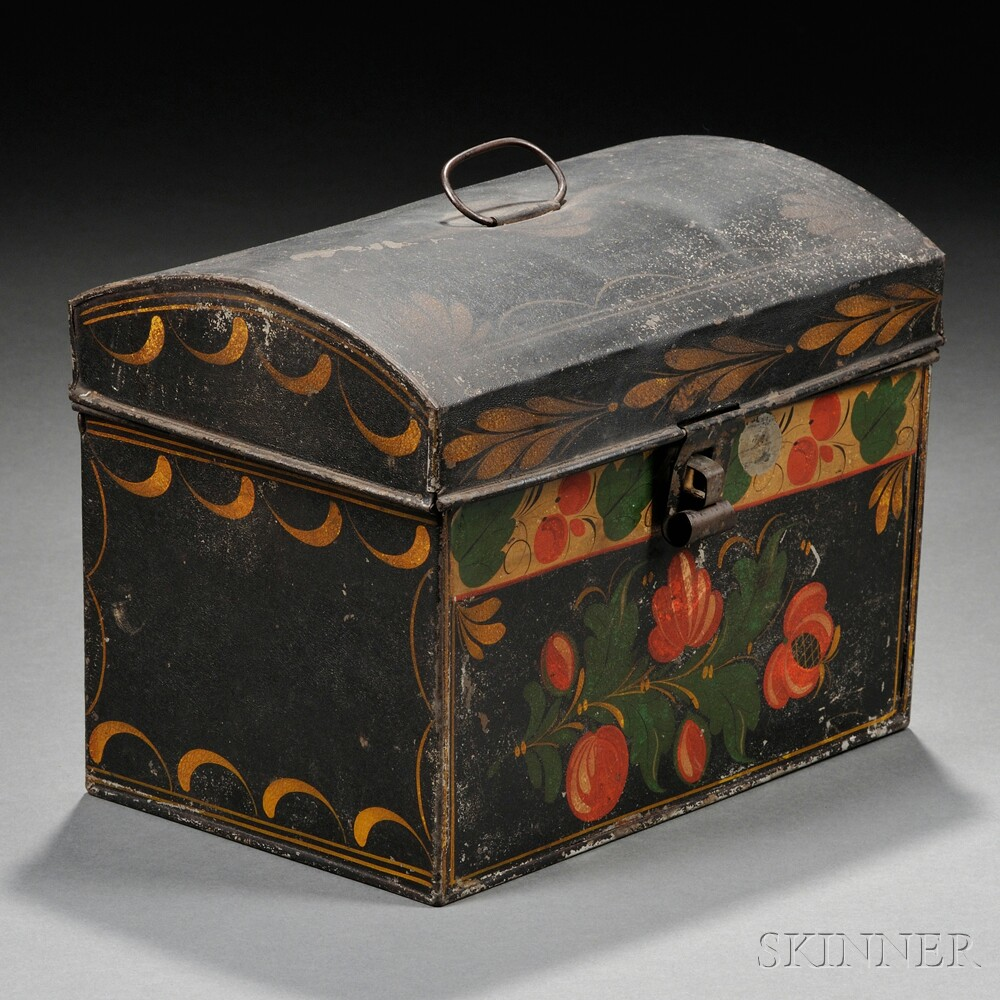 Paint-decorated Tinware Dome-top Trunk
