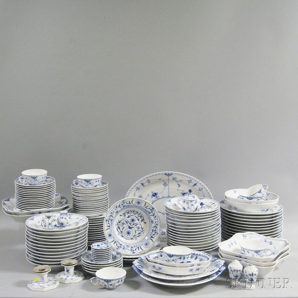 Royal Copenhagen Blue Fluted Porcelain Luncheon Set