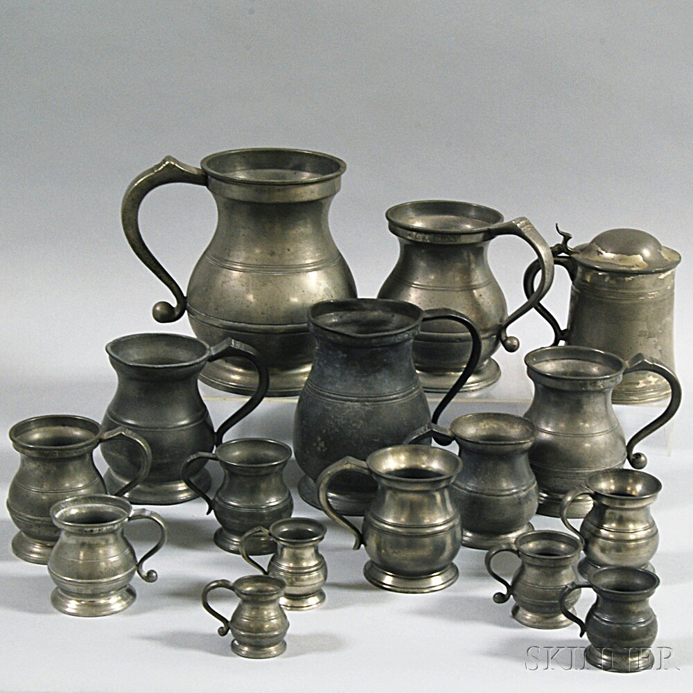 Sixteen Assorted Pewter Mugs, Pitchers, and Tankards