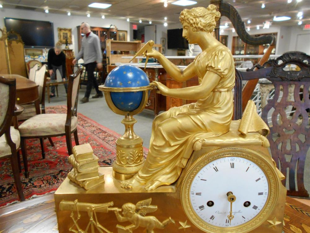 Empire Gilt-bronze Astrological-theme Mantel Clock