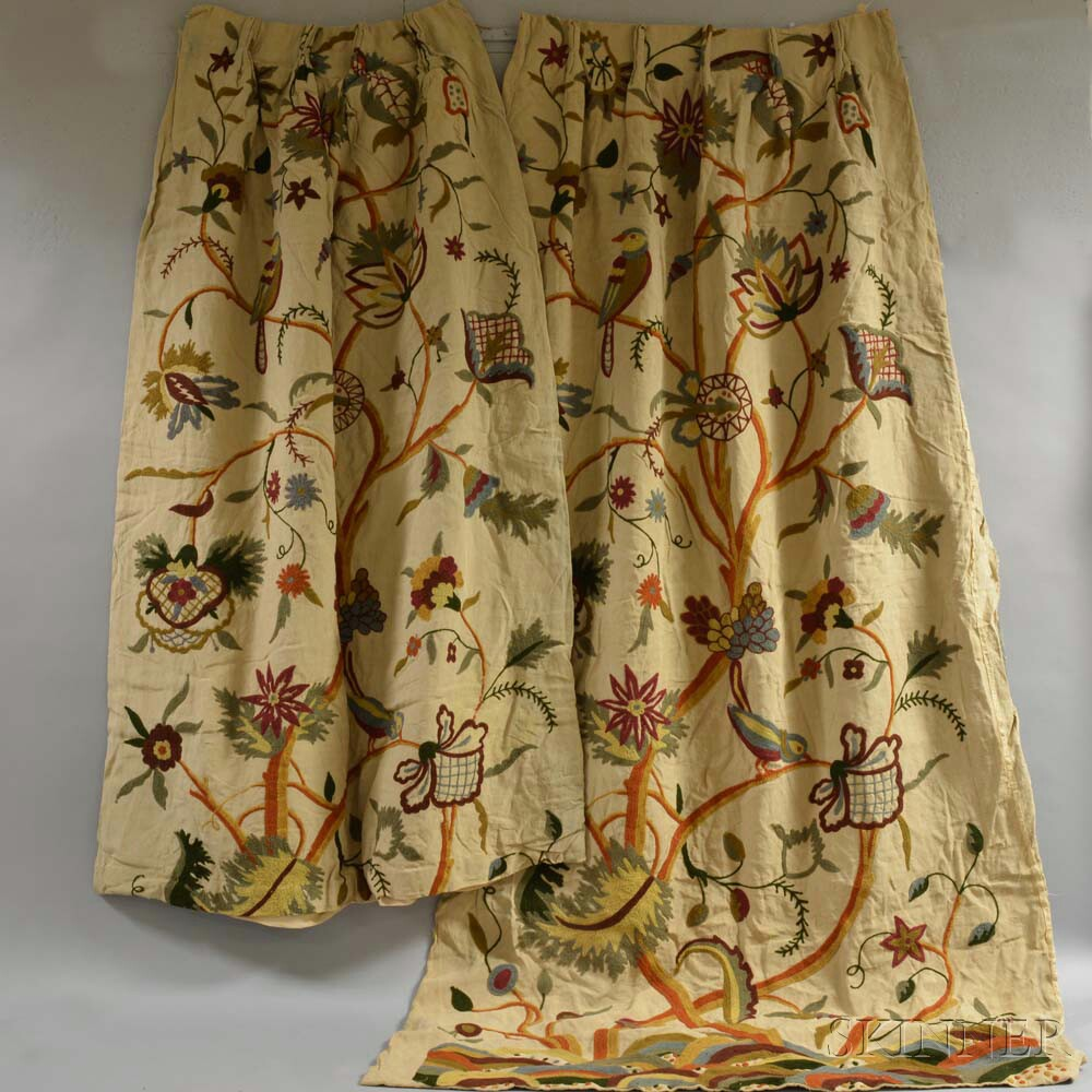 Two Crewelwork Drapes