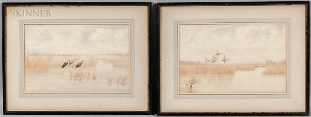 Joseph Day Knap (American, 1875-1962)      Two Watercolors of Ducks in Flight over a Marsh