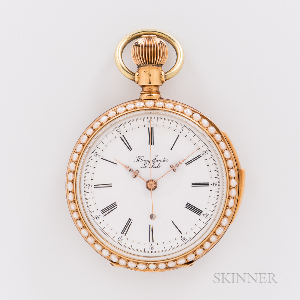 18kt Gold, Enamel, and Pearl Chronograph Quarter-repeating Open-face Watch